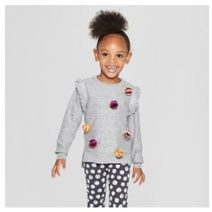 Toddler Girls Pullover Sweater with Poms